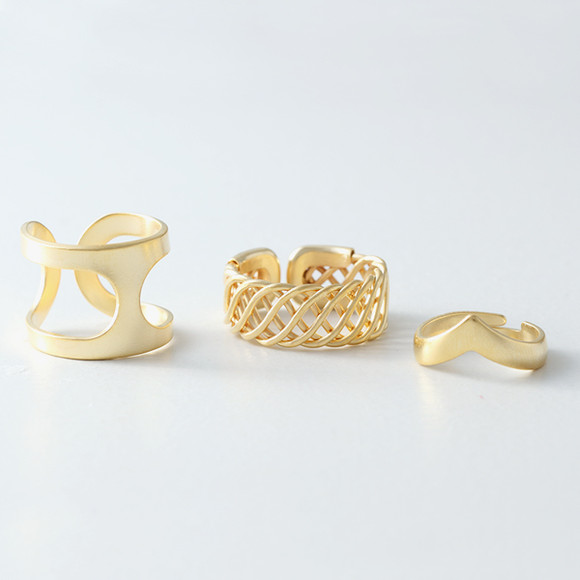 Matt Gold Calypso Free Size Rings Set of 3 from kellinsilver.com