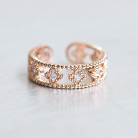 CZ Rose Gold Clover Band Ring Cuff from kellinsilver.com