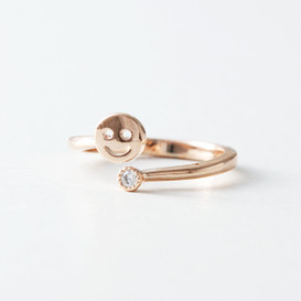 CZ Rose Gold Smile Midi Ring Wrap from kellinsilver.com