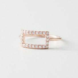 Swarovski Elegant Rectangle Ring Rose Gold from kellinsilver.com