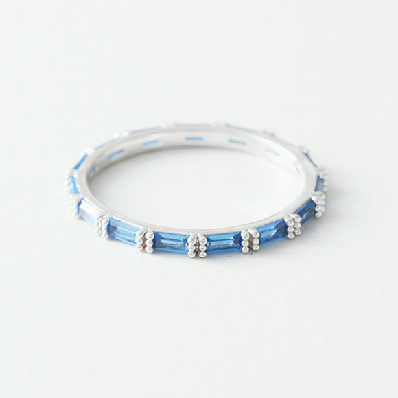 Swarovski Sapphire Blue Baguette Eternity Band Ring White Gold from kellinsilver.com