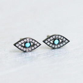 Tiny Turquoise Swarovski Black Evil Eye Studs Earring Sterling Silver from kellinsilver.com