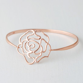 Rose Gold Rose Bangle Bracelet Sterling Silver from kellinsilver.com