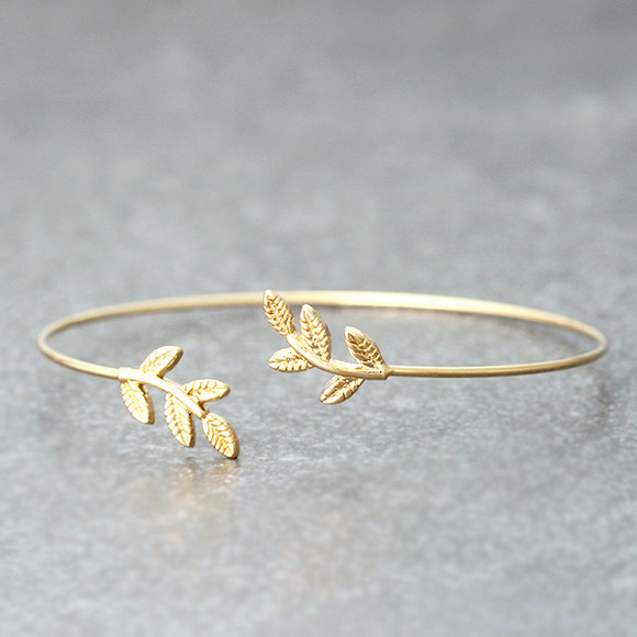 Gold Baby Leaf Cuff Bracelet from kellinsilver.com