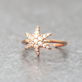 CZ Rose Gold Snowflake Midi Ring Snowflake Jewelry from kellinsilver.com