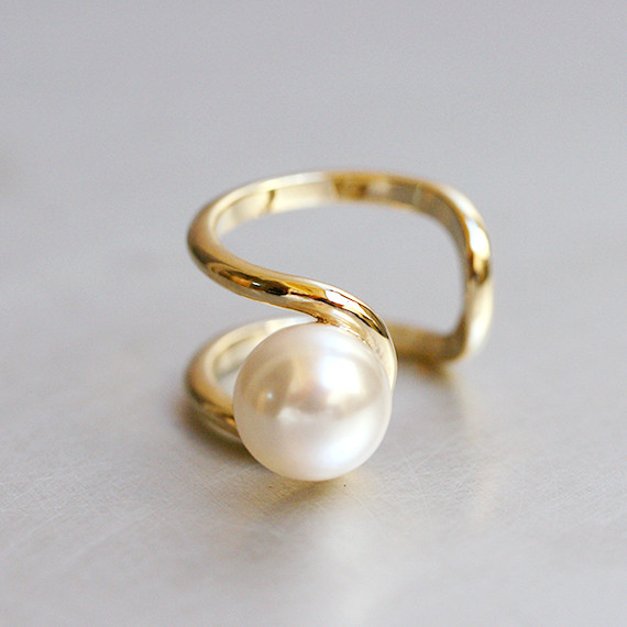 10mm Pearl Gold Cuff Ring Pearl Jewelry from Kellinsilver.com