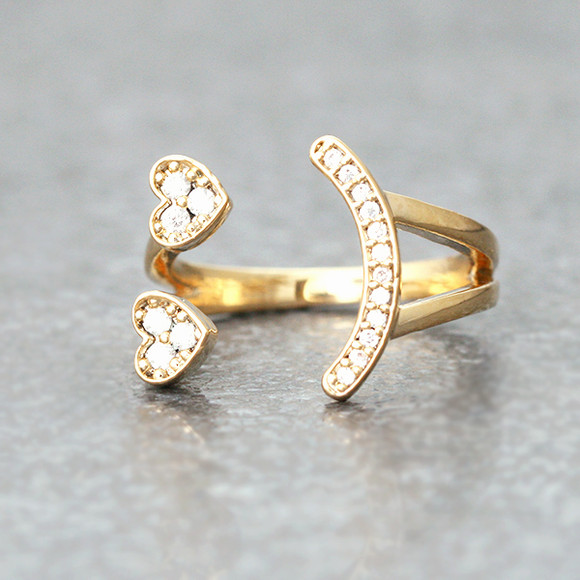 CZ Heart Eyes Smile  Face Ring Cuff Gold from kellinsilver.com