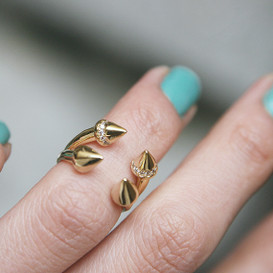 Gold Double Spike Ring Cuff from kellinsilver.com