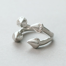 White Gold Double Spike Ring Cuff from kellinsilver.com