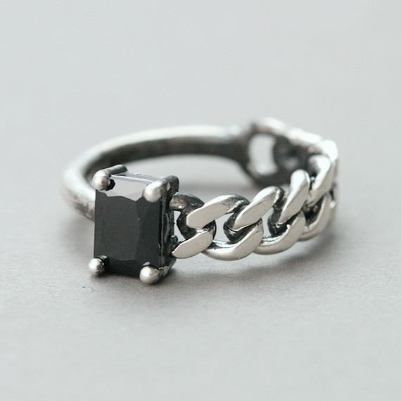 Oxidized Black CZ Asymmetric Chain Ring Sterling Silver from kellinsilver.com