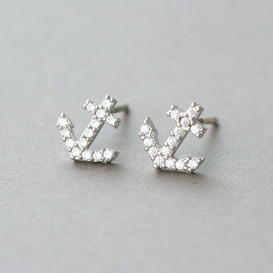 Swarovski Micro Pave Tiny Anchor Stud Earrings White Gold from kellinsilver.com