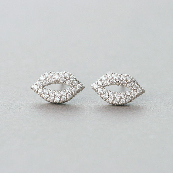 Micro Pave Swarovski Kiss Me Lip Stud Earrings White Gold from kellinsilver.com