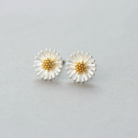 Very Small Creamy Daisy Stud Earrings from kellinsilver.com