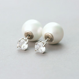 CZ Sterling Silver Pearl Backing Earrings from kellinsilver.com