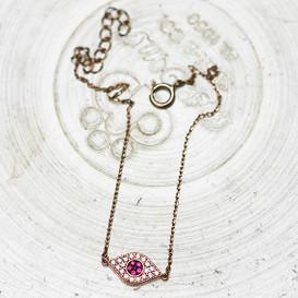 Ruby Swarovski Rose Gold Small Evil Eye Bracelet Sterling Silver from kellinsilver.com