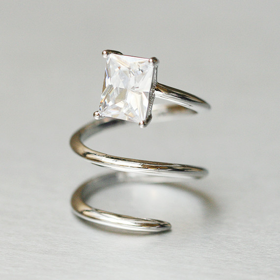 Rectangle CZ Double Wrap Claw Knuckle Ring White Gold from kellinsilver.com