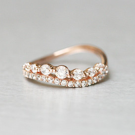 CZ Brilliant Rose Gold Wave Tiara Engagement Ring from kellinsilver.com