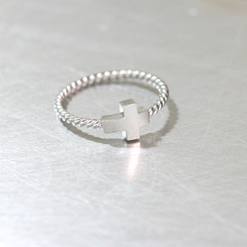 Sterling Silver Sideways Cross Ring White Gold from kellinsilver.com