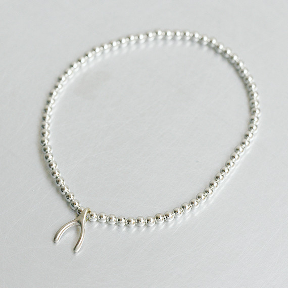 Wishbone Charm 2MM Silver Ball Bracelet from kellinsilver.com