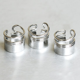 White Gold Barrel First Knuckle Ring Set from kellinsilver.com