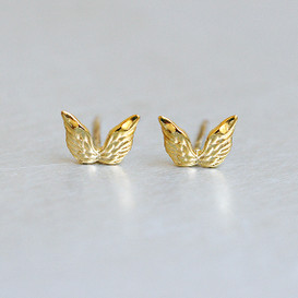 Gold Angel Wing Stud Earrings Sterling Silver from kellinsilver.com