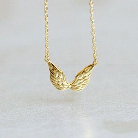Gold Double Angel Wing Necklace Sterling Silver from kellinsilver.com