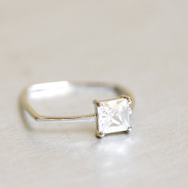 White Gold CZ Solitaire Square Ring from kellinsilver.com