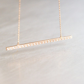 CZ Rose Gold Long Stick Bar Necklace Sterling Silver from kellinsilver.com