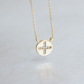 Gold Disc Charm Cross Necklace Sterling Silver from kellinsilver.com