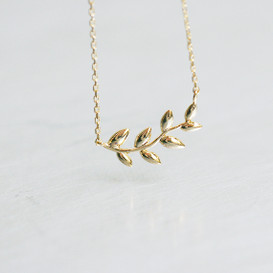 Gold Olive Leaf Necklace Sterling Silver from kellinsilver.com