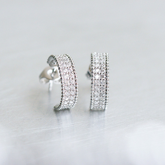 Pave Wedding Perlee Earrings Sterling Silver from kellinsilver.com