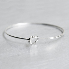 Sterling Silver Heart Knot Bangle Bracelet from kellinsilver.com
