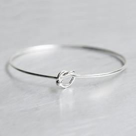 Sterling Silver Heart Knot Bangle Bracelet from kellinsilver.com
