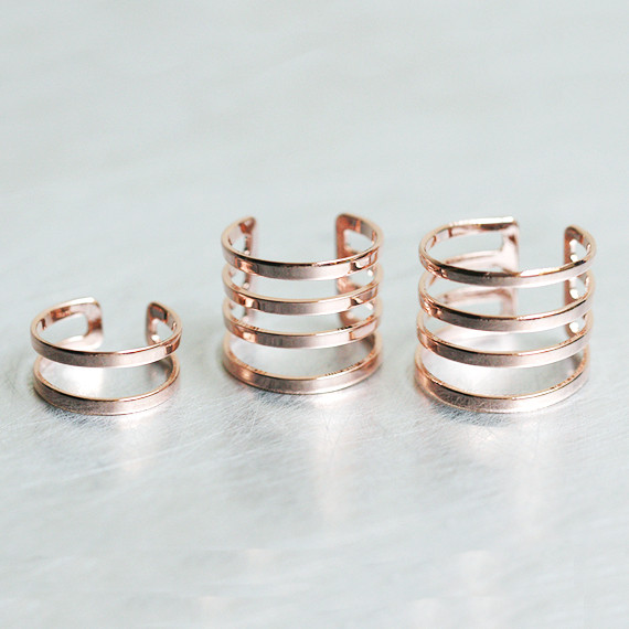Rose Gold 4 Statement Stacked Ring Set from kellinsilver.com