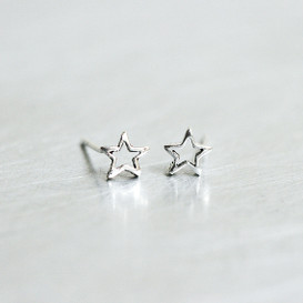 Oxidized Silver Tiny Outline Star Stud Earrings from kellinsilver.com