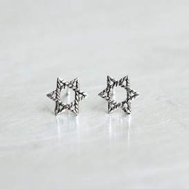 Oxidized Silver Tiny Six Point Star Stud Earrings from kellinsilver.com