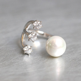 Pearl and Triple CZ Cuff Ring Sterling Silver from kellinsilver.com