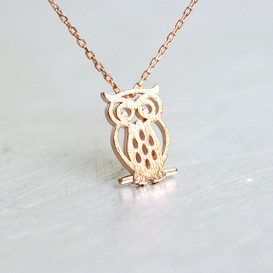 Rose Gold Blushed Owl Necklace Sterling Silver from kellinsilver.com
