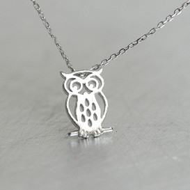 White Gold Blushed Owl Necklace Sterling Silver from kellinsilver.com