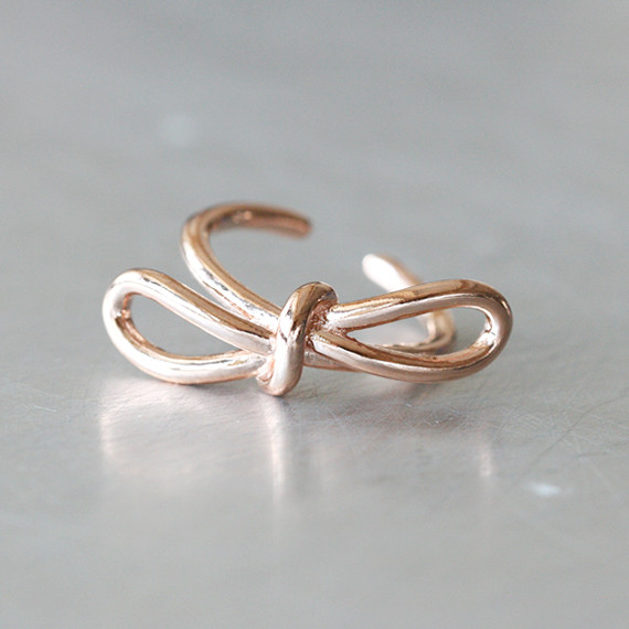 gold promise bow knot ring sterling silver