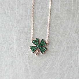 Emerald Green Four Leaf Clover Necklace Rose Gold from kellinsilver.com