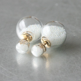 Dainty Pearl Bead in Ball Double Sided Earrings from kellinsilver.com