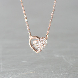 Rose Gold Embraced Heart Necklace Sterling Silver from kellinsilver.com