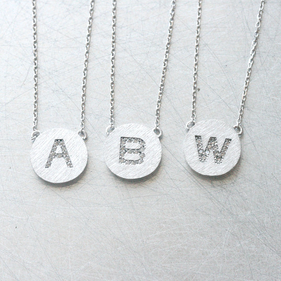 Pave White Gold Disc Personalized Initial Necklace Sterling Silver from kellinsilver.com