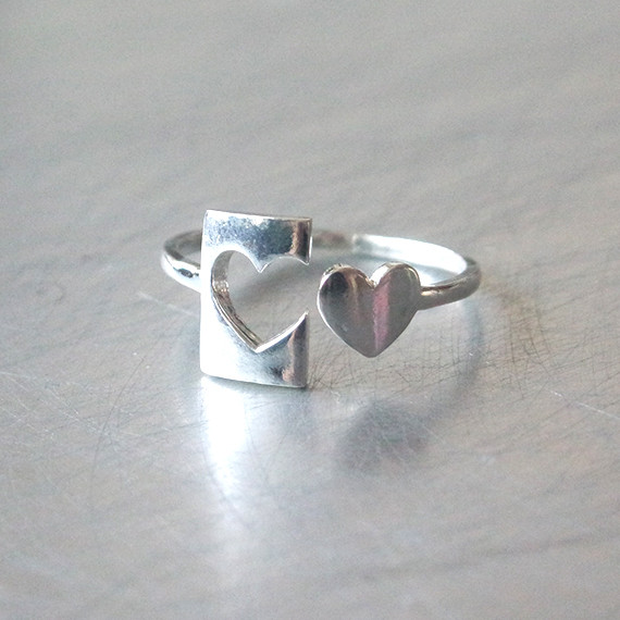 Sterling Silver Heart Stamp Ring Cuff from kellinsilver.com