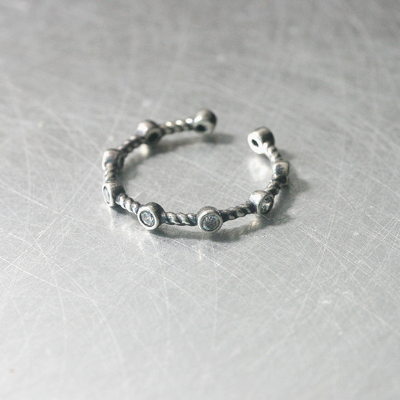oxidized sterling silver cz bridge cuff ring from kellinsilver.com