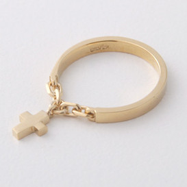Gold Cross Charm Chain Ring Sterling Silver from kellinsilver.com
