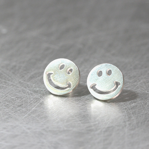 Sterling Silver Smile Stud Earrings from kellinsilver.com