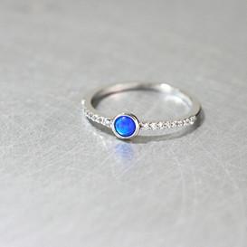 Blue Opal CZ Ring Sterling Silver from kellinsilver.com