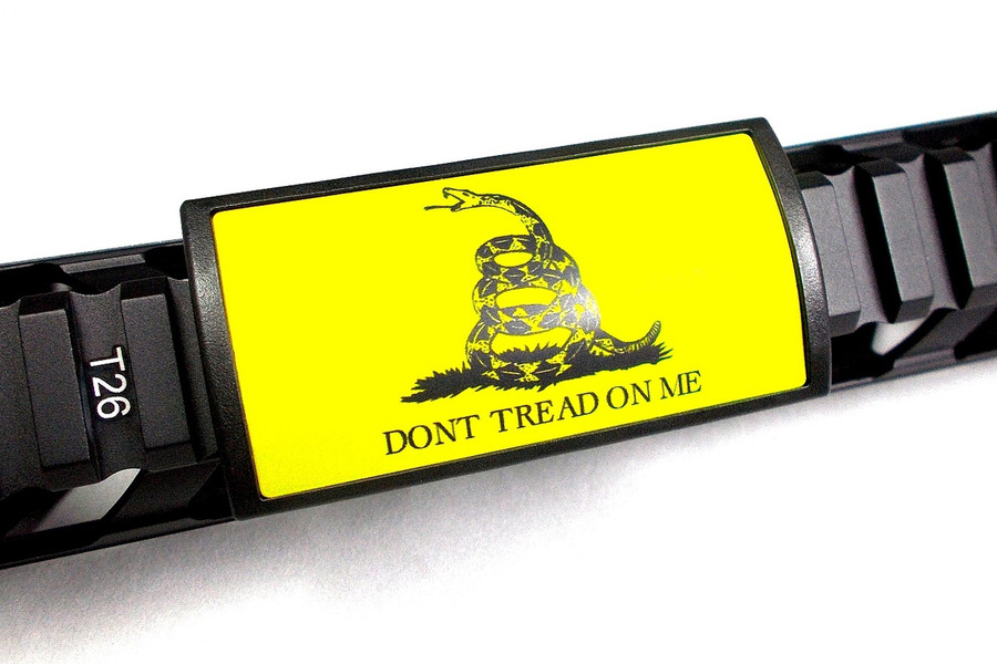 GADSDEN LARGE LASER ENGRAVED- YELLOW PLATE